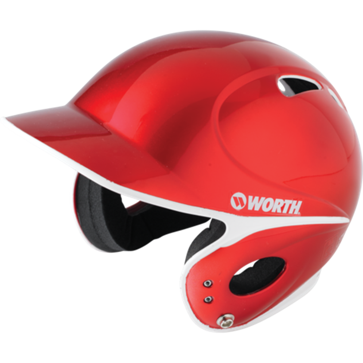 WORTH LPBHT Toxic Low Profile Baseball Batting Helmet- Red